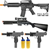 BBTac Airsoft Gun Package - Police Entry Team Collection of 4 Airsoft Guns - Full Auto AEG Airsoft Electric Rifle, Shotgun, SMG and Pistol, 4000 BB Pellets, Great for Starter Pack Game Play