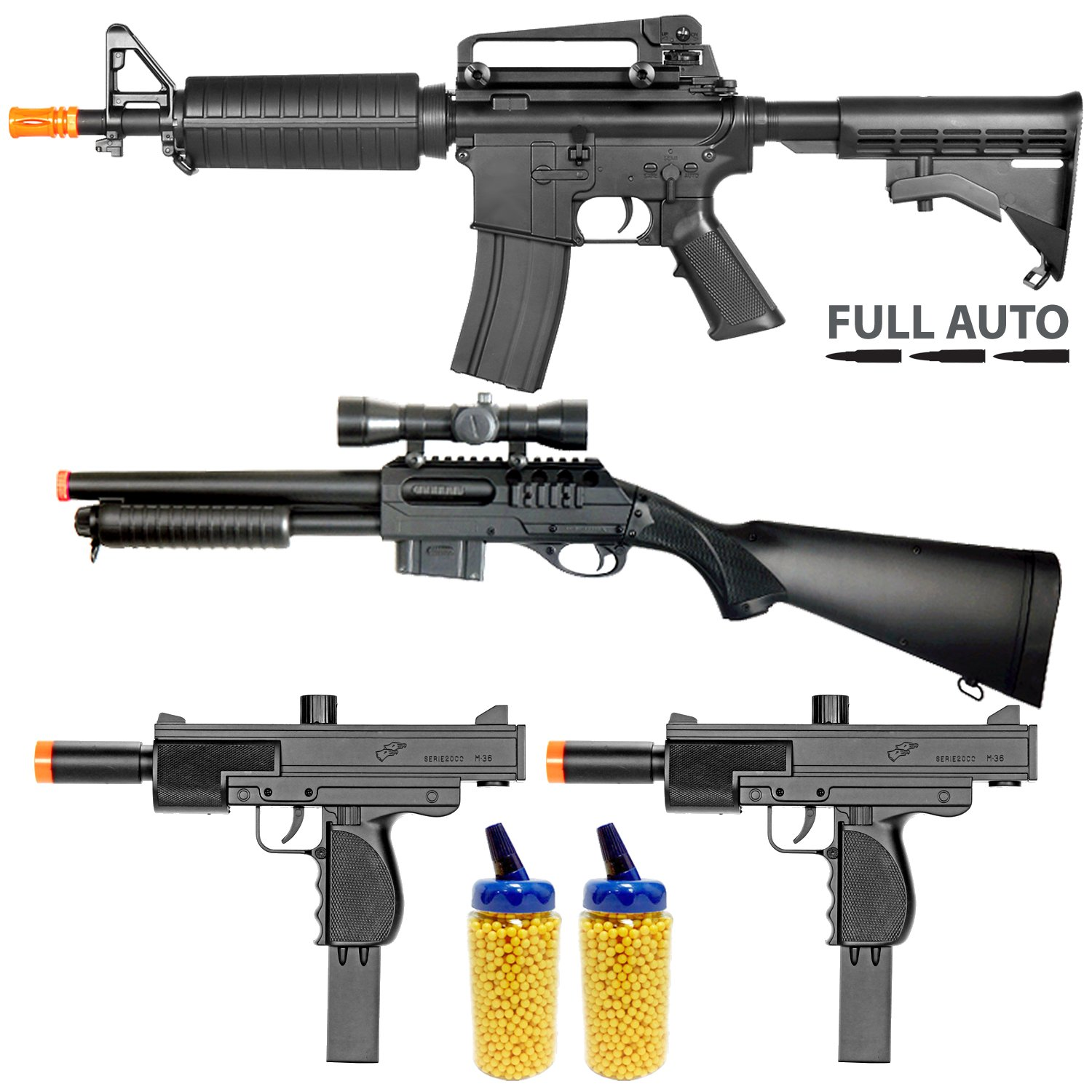 BBTac Airsoft Gun Package - Police Entry Team Collection of 4 Airsoft Guns - Full Auto AEG Airsoft Electric Rifle, Shotgun, SMG and Pistol, 4000 BB Pellets, Great for Starter Pack Game Play by BBTac (Image #1)