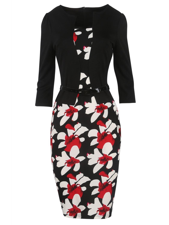 Babyonline Women Colorblock Wear to Work Business Party Bodycon One-piece Dress ZZHOXL008