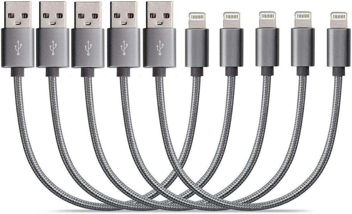 Short Phone Charger(8 inch/5 Pack),Short Nylon Braided USB Fast Charging & Syncing Cable Cord Connector for Cell Phone 11/11Pro/11Max/X/XS/XR/XS Max/8/7/6/5S/SE - Grey