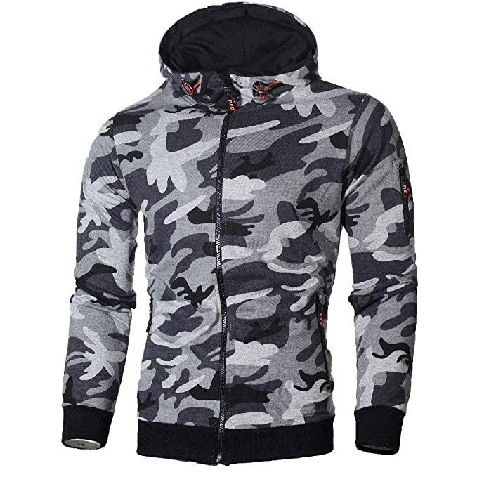 f4cf22bc3 Hoodies for Men, Clearance Sale! Pervobs Mens Autumn Long Sleeve Hooded  Fashion Camouflage Zip Pullover Hoodies at Amazon Men's Clothing store: