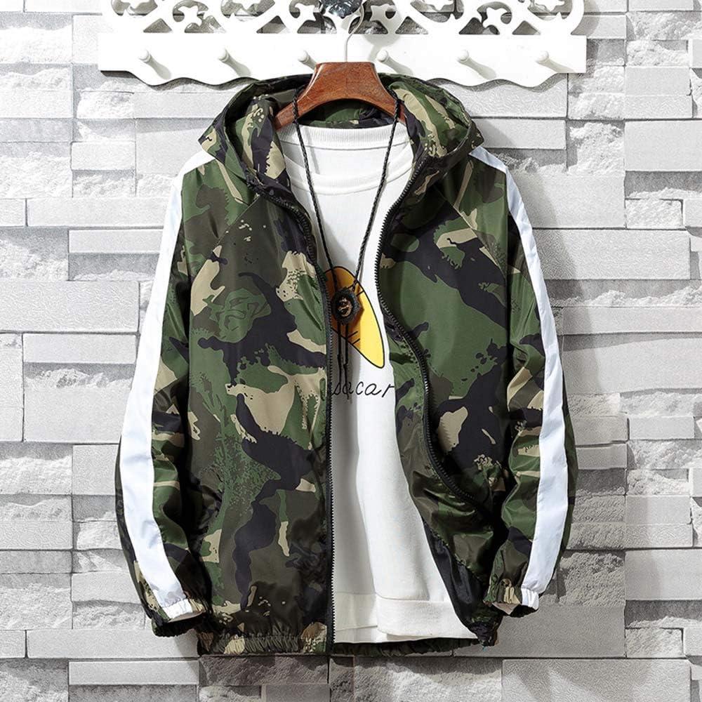 vermers Mens Hooded Jacket Fashion Zip Camouflage Coat Casual Long Sleeve Pocket Sport Hoodies Jacket Coat