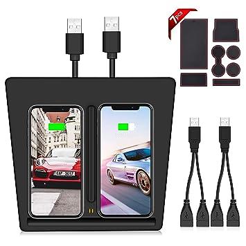 VXDAS Cargador inalámbrico para Tesla Modelo 3, Puertos USB dobles Plataforma de carga inalámbrica para Tesla Modelo 3, Cargador móvil dual para todos ...