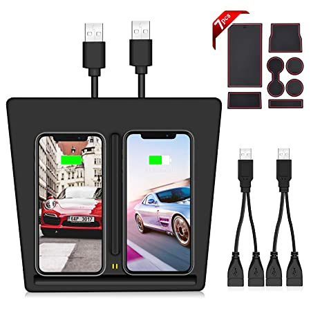 VXDAS Wireless Charger for Tesla Model 3, Dual QI Wireless Phone Charging Pad Car Center Console Wireless Charger Tesla Model 3 Accessories Panel with USB Splitter 7pcs Storage Mat Set