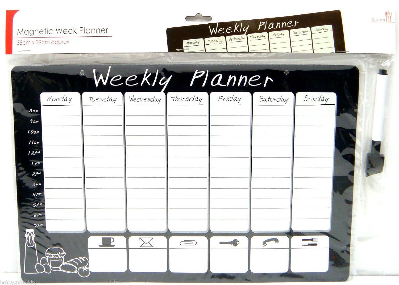 REUSABLE WIPEABLE MAGNETIC WEEKLY PLANNER ORGANISER CALENDAR MEMO – Weekly Memo Calendar