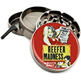 "Reefer Madness 4 Piece Zinc Titanium Metal Herb Grinder 2.5"" Vintage Movie Weed Poster Diamond Grind"