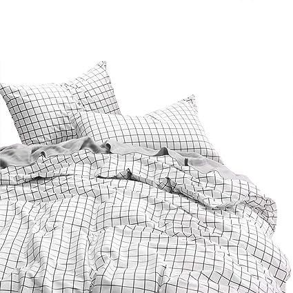 Amazoncom Wake In Cloud Grid Duvet Cover Set 100 Cotton