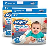 Drypers Wee Wee Dry Medium Size Diapers (Pack of 2, 74 Counts per Pack)