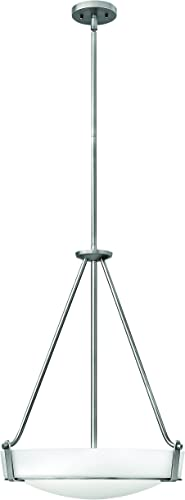 Hinkley 3222AN Transitional Four Light Stem Hung Foyer from Hathaway collection in Pwt, Nckl, B S, Slvr.finish,