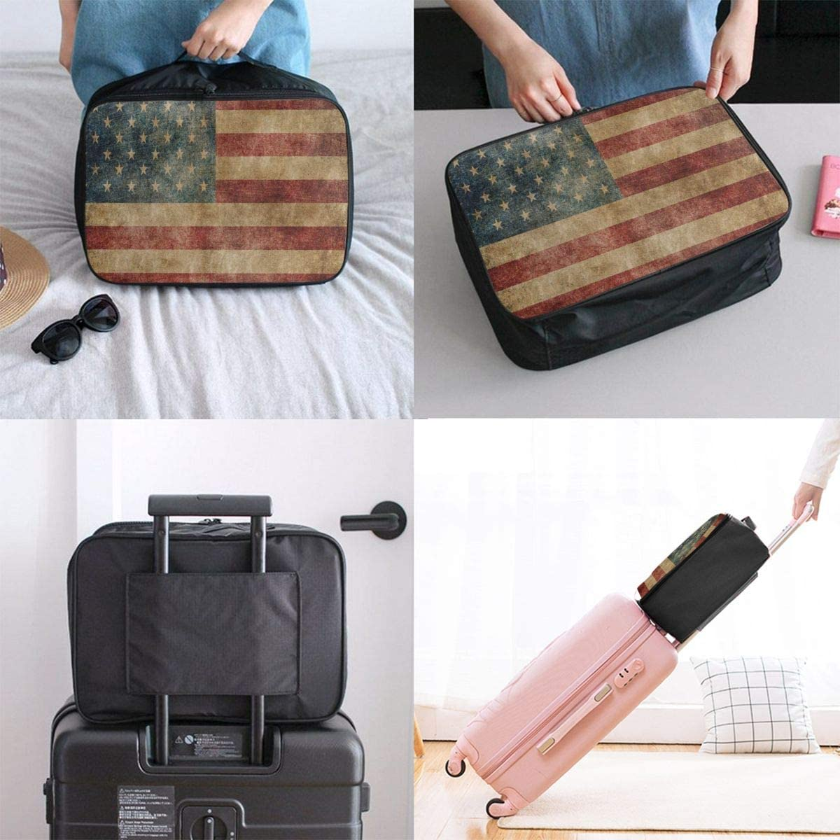 Travel Bags Vintage American Flag 4th July Independence Day Portable Tote Cool Trolley Handle Luggage Bag