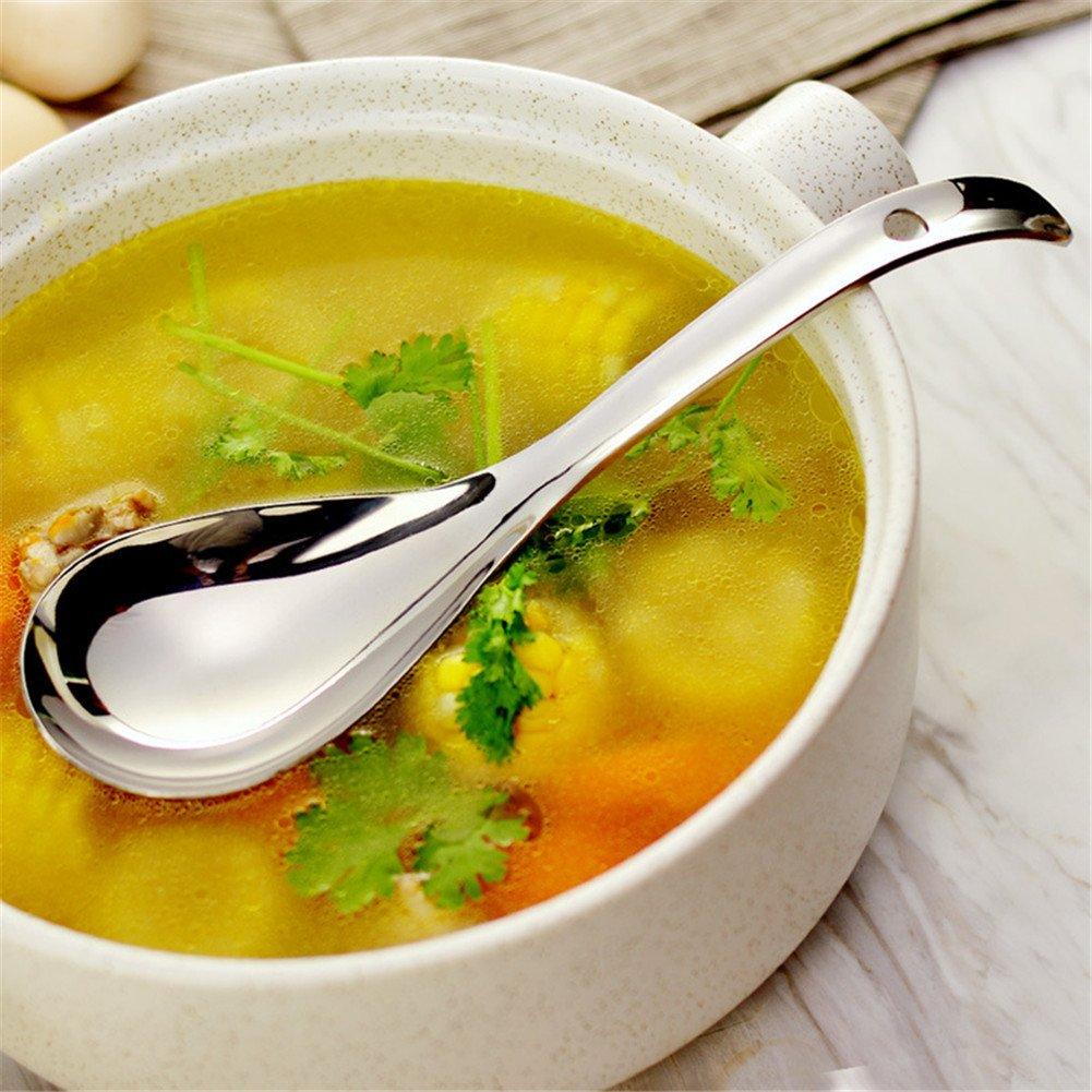 1pc Big Soup Spoon Stainless Steel Unique Porridge Spoon Large Table Rice Spoon