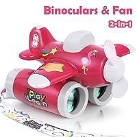 iPlay, iLearn Kids Binoculars Toy, 2-in-1 Airplane Binocular & Portable Fan, Yard...