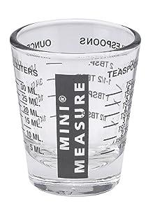 Kolder 13211BLK Mini Measure Heavy Glass, 20-Incremental Measurements Multi-Purpose Liquid and Dry Measuring Shot Glass, Black