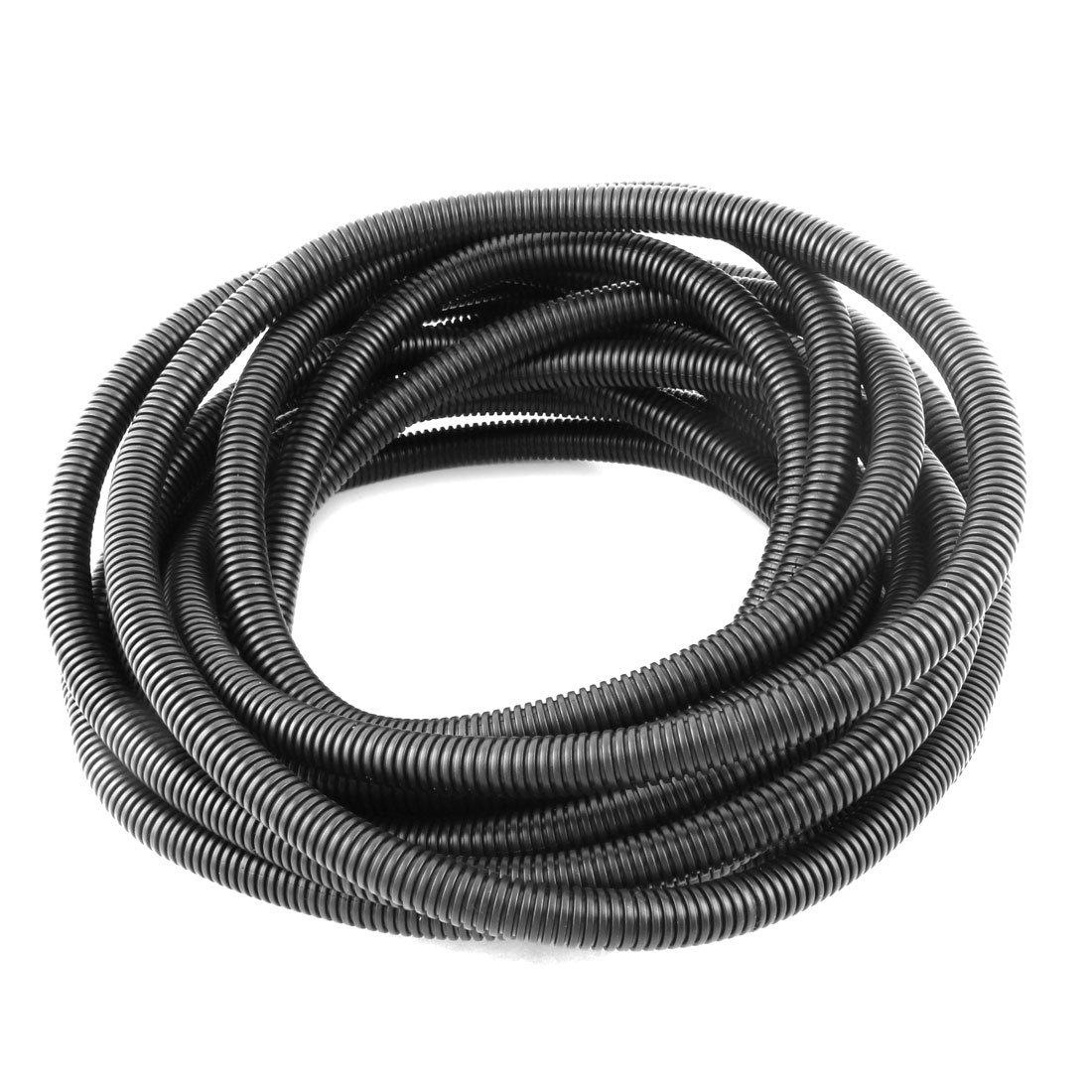 uxcell Plastic 12mm x 16mm Flexible Corrugated Conduit Pipe Hose Tube 10M Long Black