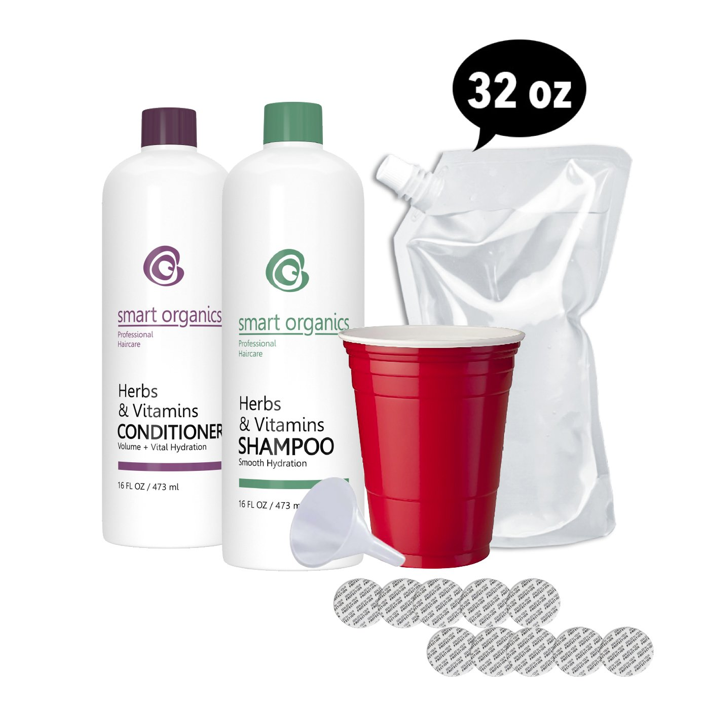 Hidden Flask - Shampoo and Conditioner Set - Includes 2 16 oz Bottles, Funnel, 10 Seals, and 1 Free 32 oz Cruise Flask - Sneak Alcohol Anywhere - Sporting Events, On a Cruise or Glass Restricted Areas by Cruise Flask®