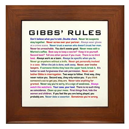 Amazon.com: CafePress - NCIS Gibbs\' Rules - Framed Tile, Decorative ...