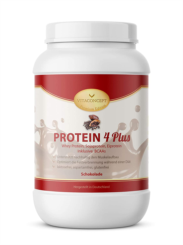 VITACONCEPT PROTEIN 4 PLUS - Compuesto de proteínas - Suero de leche, soja y huevo - Sin gluten - Chocolate - 1 kg
