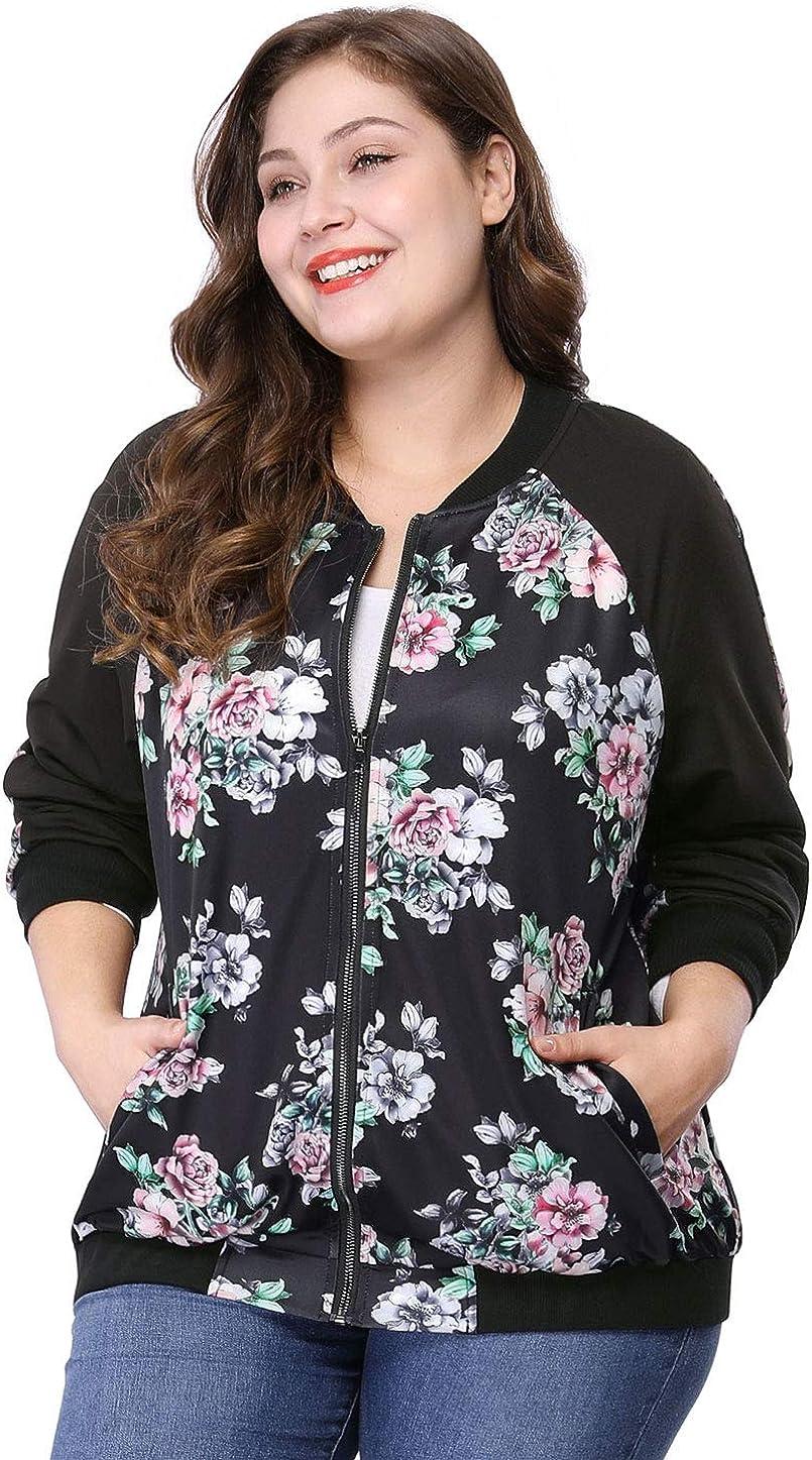 Agnes Orinda Women's Plus Size Zipper Raglan Sleeves Floral Bomber Jacket