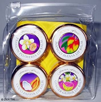 Hawaii Forever Florals Lip Balm Stick 2 Four Packs Assorted Fatigue Fighters To Go Skincare Lab Series 4 Pc Kit 1oz Multi Action Face Wash, 0.2oz Future Rescue Repair Serum, 0.5oz Age Rescue + Water Charged Gel Cream, 0.5oz Age Rescue + Eye Therapy For Men