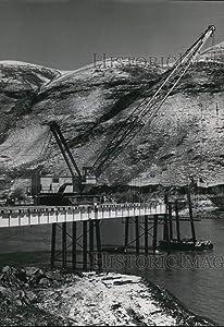 Historic Images - 1956 Press Photo Permanent 600-ft Bridge Half Completed, to Span River Below Dam