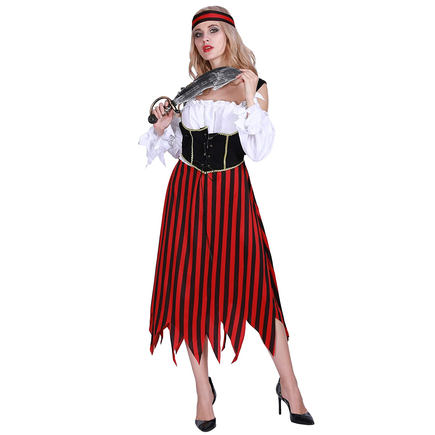 6f0a24cbe3a EraSpooky Women's Pirate Costume Halloween Adult Pirate Dress Buccaneer for  Women - Funny Cosplay Party