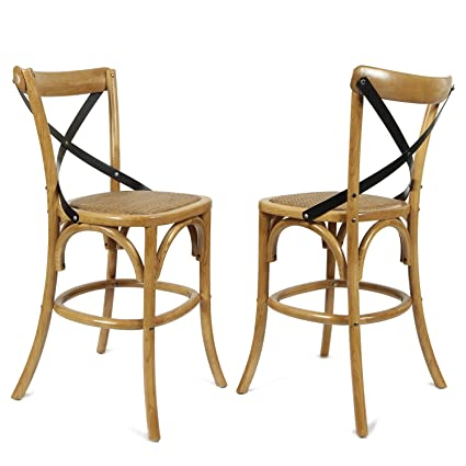 Pleasant Adeco Tan Elm Wood Rattan Vintage Style Contrasting Back Curved Leg Barstool Dining Chair 43 High Set Of One Natural Color Ocoug Best Dining Table And Chair Ideas Images Ocougorg