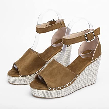 Peep Toe Zeppe Hasp Sandali Flatform Scarpe (37=Asia 38, Marrone)