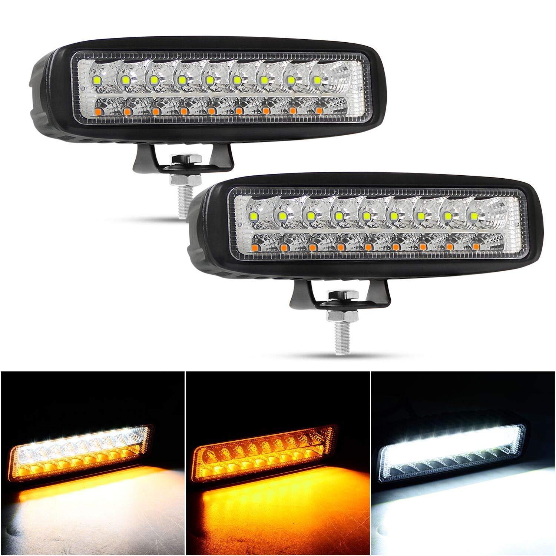 YEEGO 6 Inch LED Light Bar Single Row Flood LED Pods 36W 3600LM Driving Light Fog Lights LED Work Light Bar,2 Years Warranty