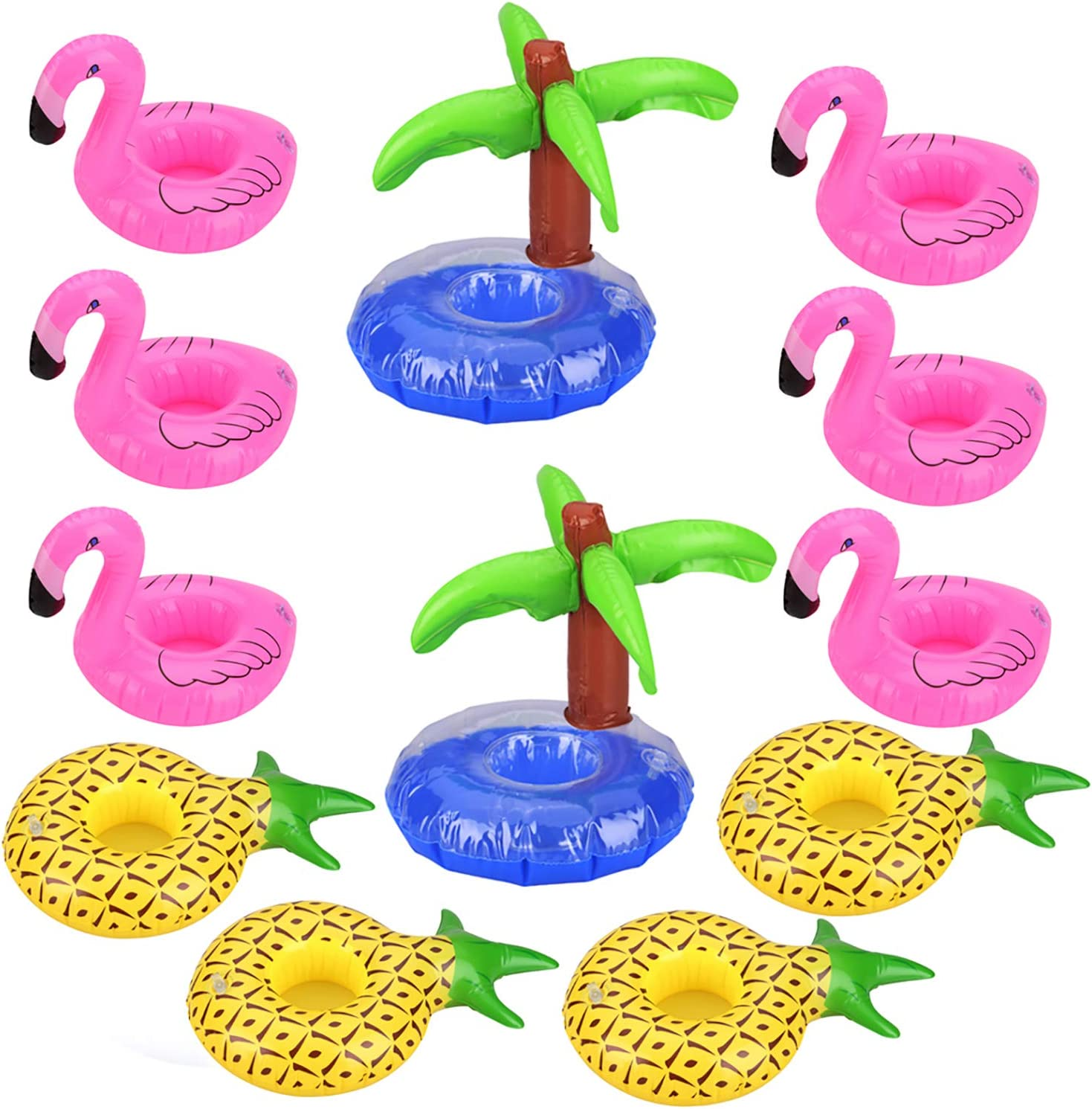 Uniqhia 12 Pack Inflatable Drink Holders - 6 PCS Pink Flamingo 4 PCS Pineapple and 2 PCS Palm Trees Drink Float - Float Your Drinks in Style