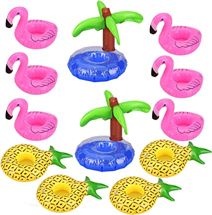 Amazon Com Uniqhia Inflatable Drink Holders 12 Pack 6 Pcs Pink Flamingo 4 Pcs Pineapple And 2 Pcs Palm Trees Drink Float Float Your Drinks In Style Toys Games