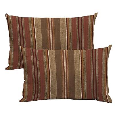 "Comfort Classics Inc. Set of 2 Indoor/Outdoor Pillow 18"" x 10"" x 4"" in Polyester Fabric Stripe Chili : Garden & Outdoor"