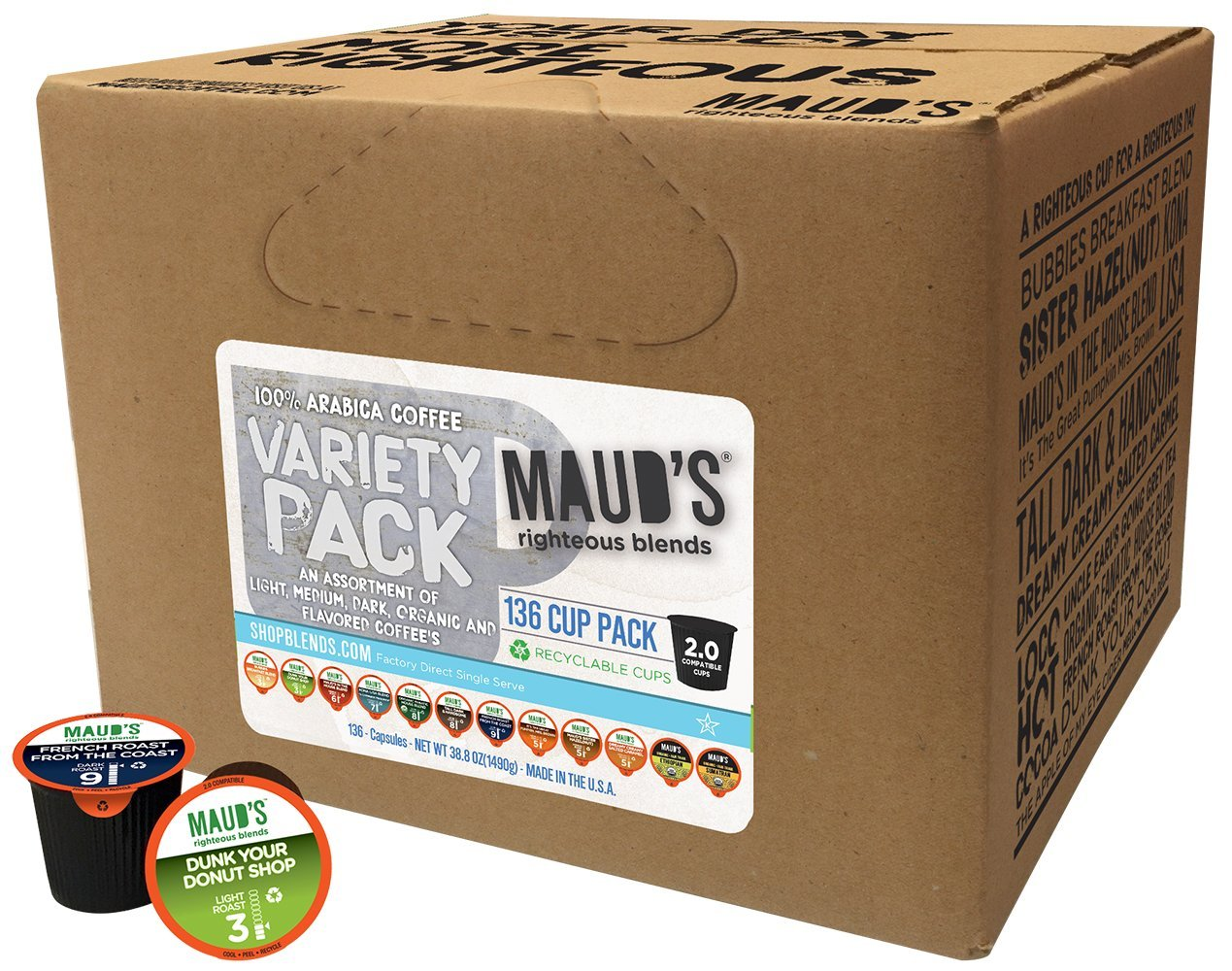 Maud's Gourmet Coffee Pods - 12 Flavor Variety Pack, 136-Count Single Serve Coffee Pods - Richly Satisfying Premium Arabica Beans, California-Roasted - Kcup Compatible, Including 2.0 by Maud's Coffee