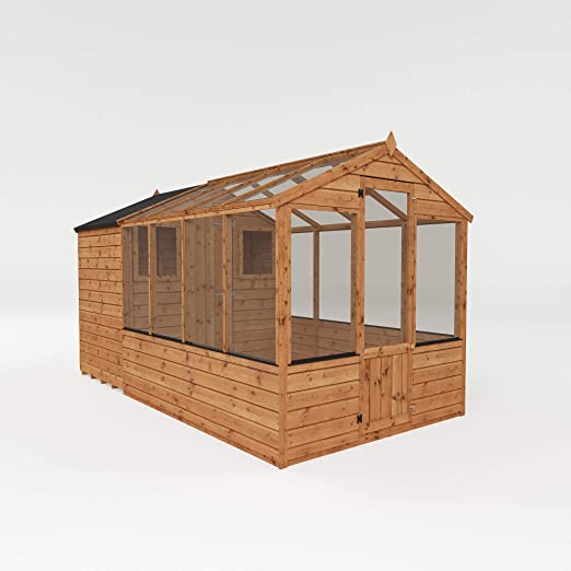 Invernadero de madera con cobertizo, ventana, puerta única, estireno machihembrado; techo a dos aguas, 3, 65 x 1, 82 m: Amazon.es: Jardín