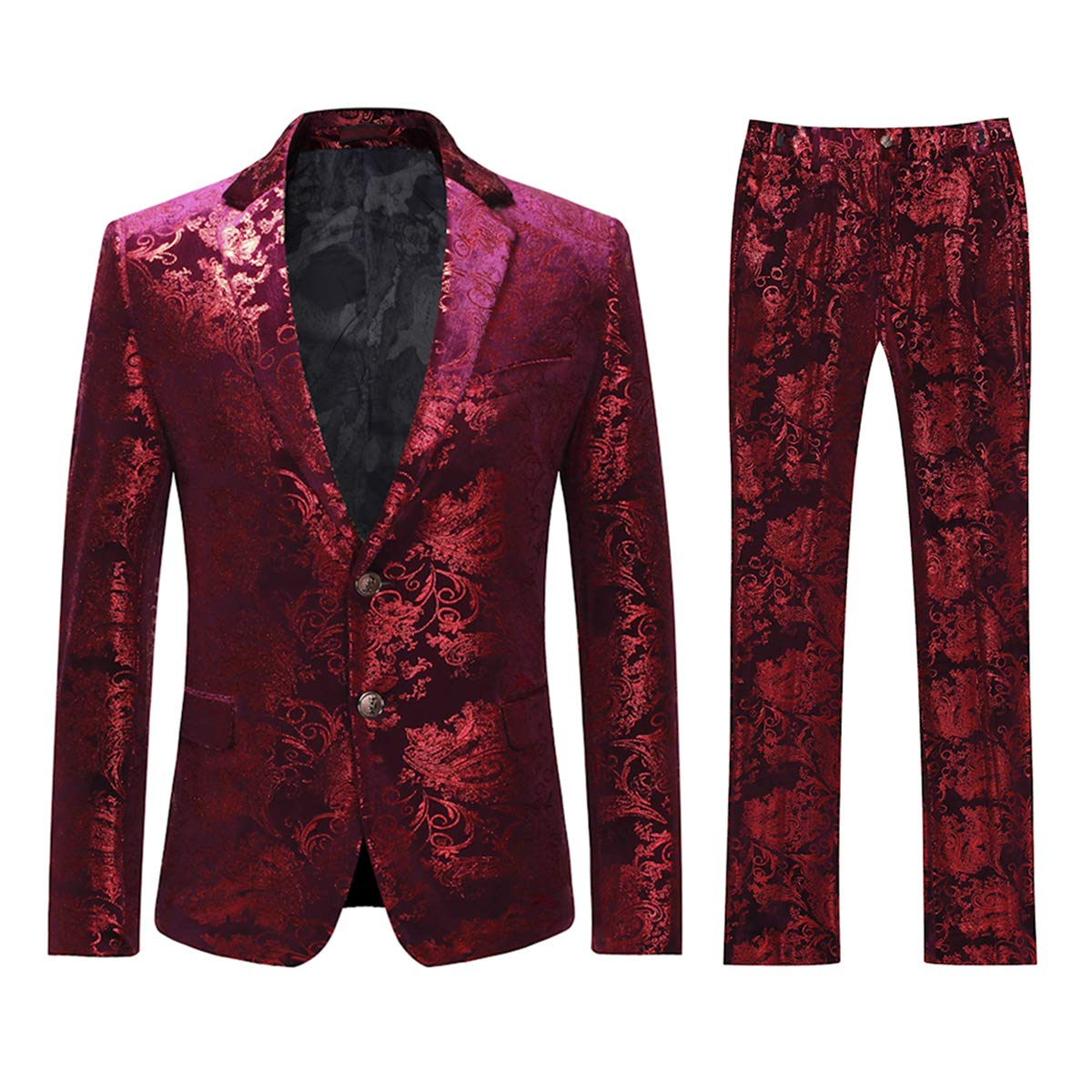 Cloudstyle Men's Dress Suit Single-Breasted 2 Pieces Slim Fit 2 Buttons Suits Red by Cloudstyle