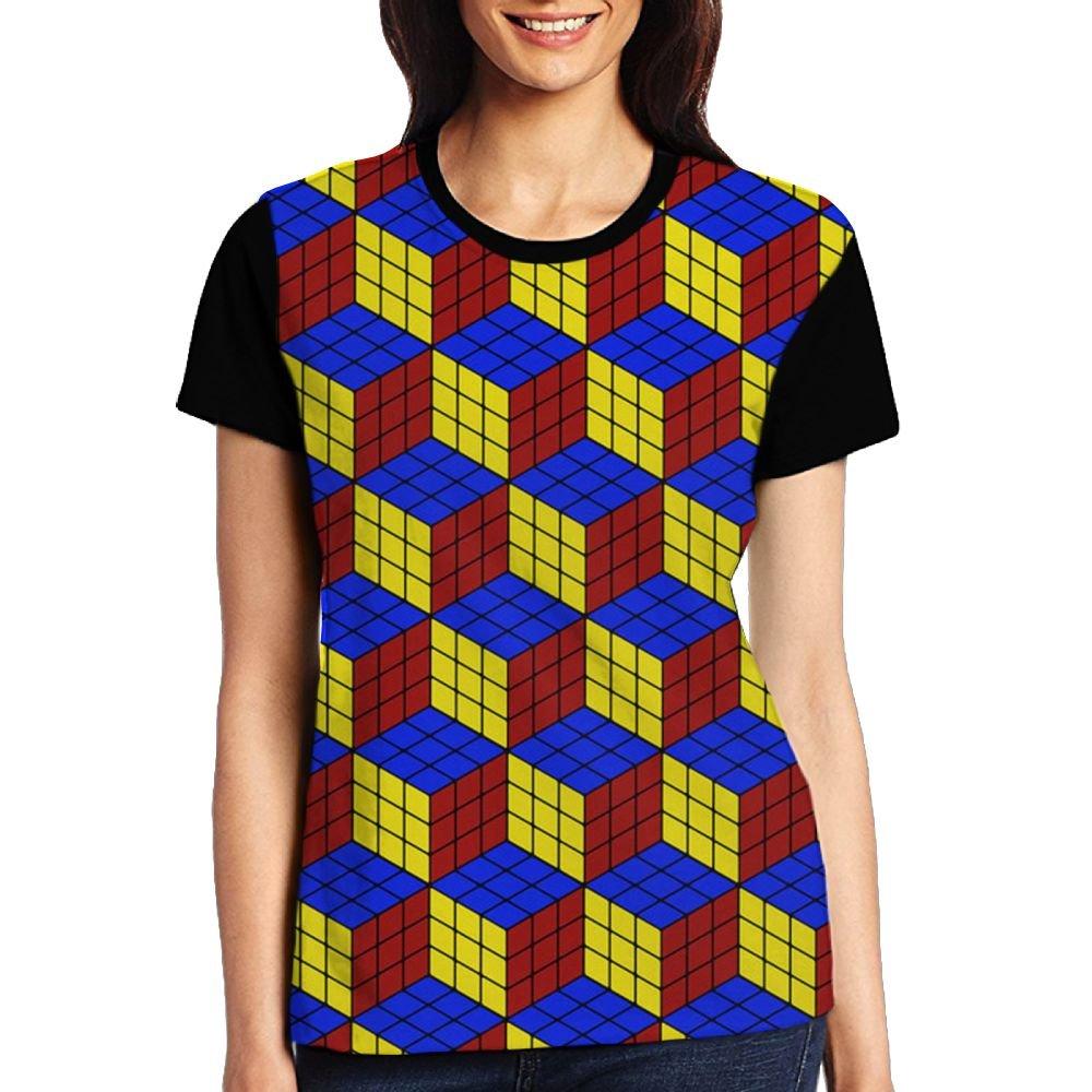 Rubik's Puzzle Game Women's Raglan T-Shirt Short Sleeve Sport Baseball Tees Tops Undershirts by CKS DA WUQ
