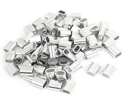 sourcingmap/® 100 Stk M4 Oval Aluminium H/ülsen Klemmen f/ür 4mm Draht Seil Swage Clip de