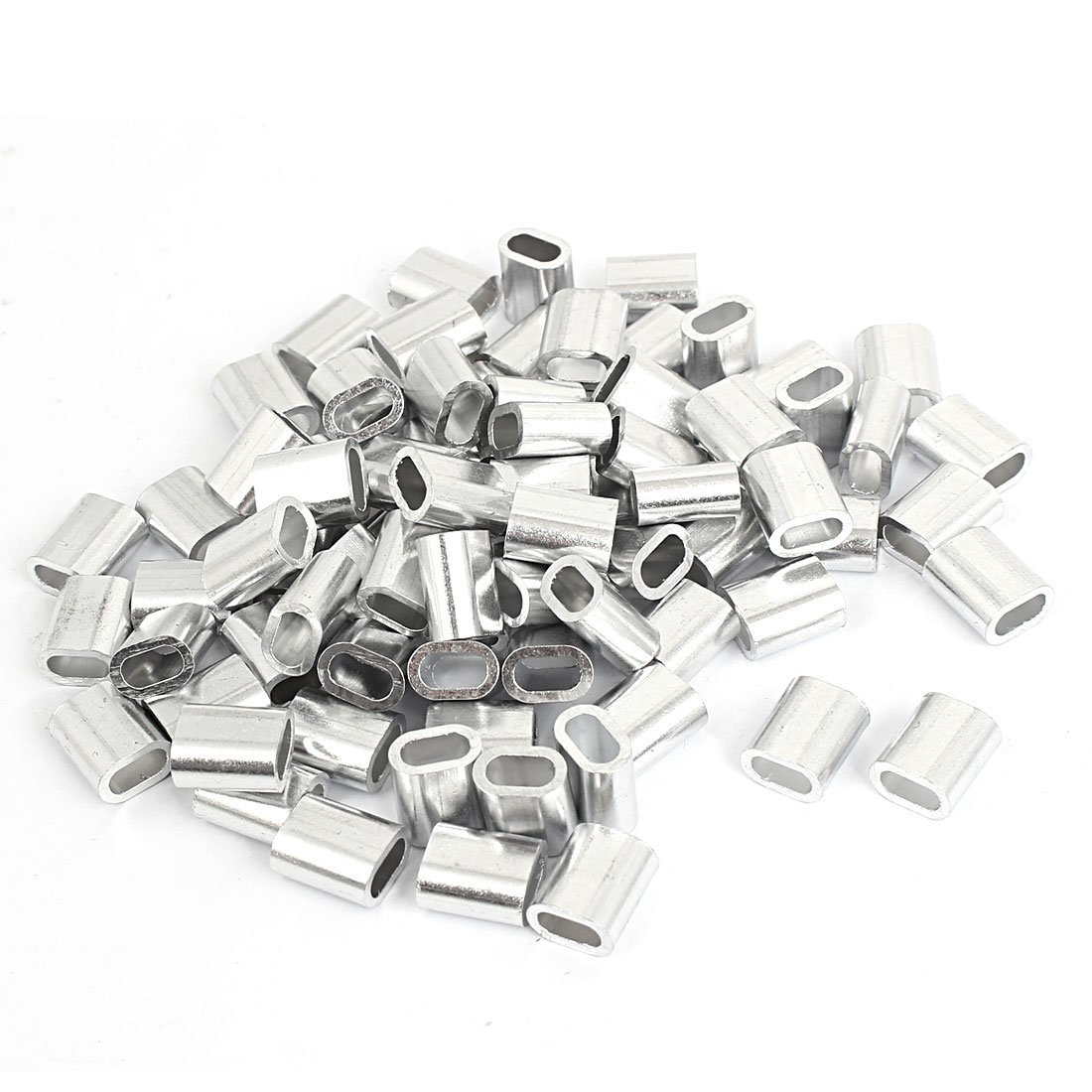uxcell 4mm Wire Rope Swage Clip M4 Oval Aluminum Sleeves Clamps 80pcs