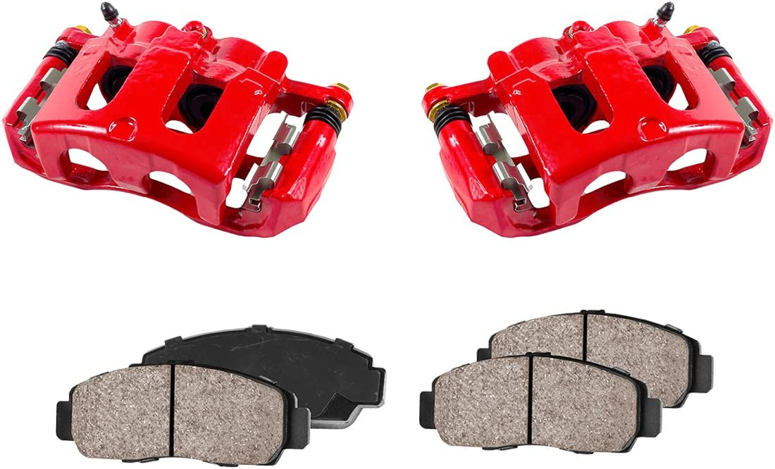 Low Dust Ceramic Brake Pads 2 CCK01114 FRONT Performance Loaded Powder Coated Red Remanufactured Caliper Assembly