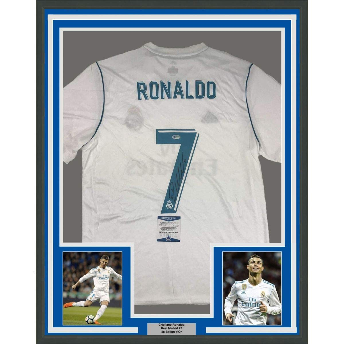 Framed Autographed Signed Cristiano Ronaldo 33x42 Real Madrid White Soccer  Jersey Beckett BAS COA Auto at Amazon s Sports Collectibles Store 5c42e2127