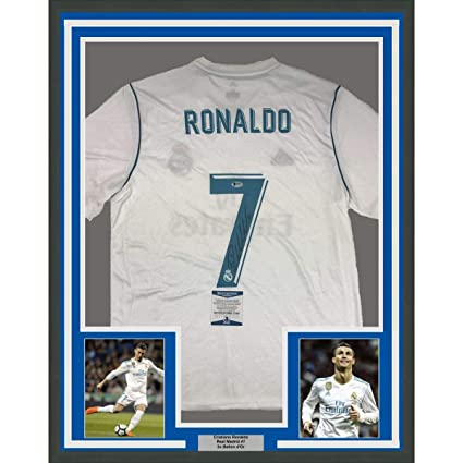 231a9375819 Image Unavailable. Image not available for. Color  Framed Autographed Signed  Cristiano Ronaldo 33x42 Real Madrid White Soccer Jersey ...
