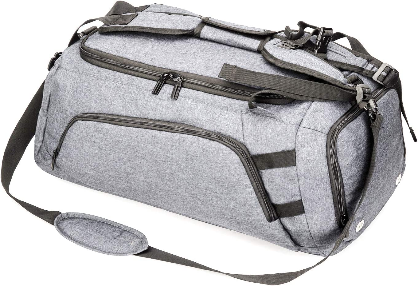 ACECHA Sports Gym Bag with Shoes Compartment Travel Duffel Bag for Men Gray