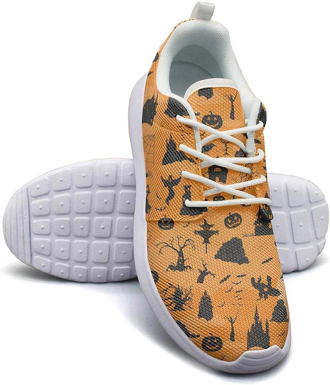 Hobart dfgrwe Orange Halloween Design Womens Lady Skateboard Breathable Running Shoes