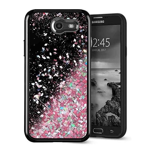 Galaxy J3 Emerge Case, SuperbBeast Fashion Bling Liquid Floating Glitter  Sparkle Girly TPU Bumper Case for Girls Women Children Samsung Galaxy J3