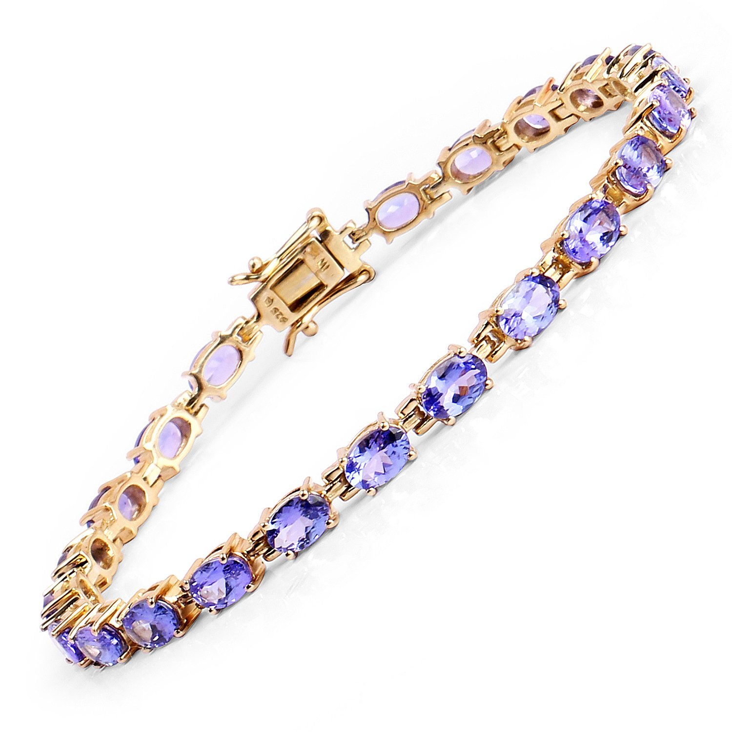 Johareez 14K Yellow Gold Plated Tanzanite Tennis Bracelet In Sterling Silver