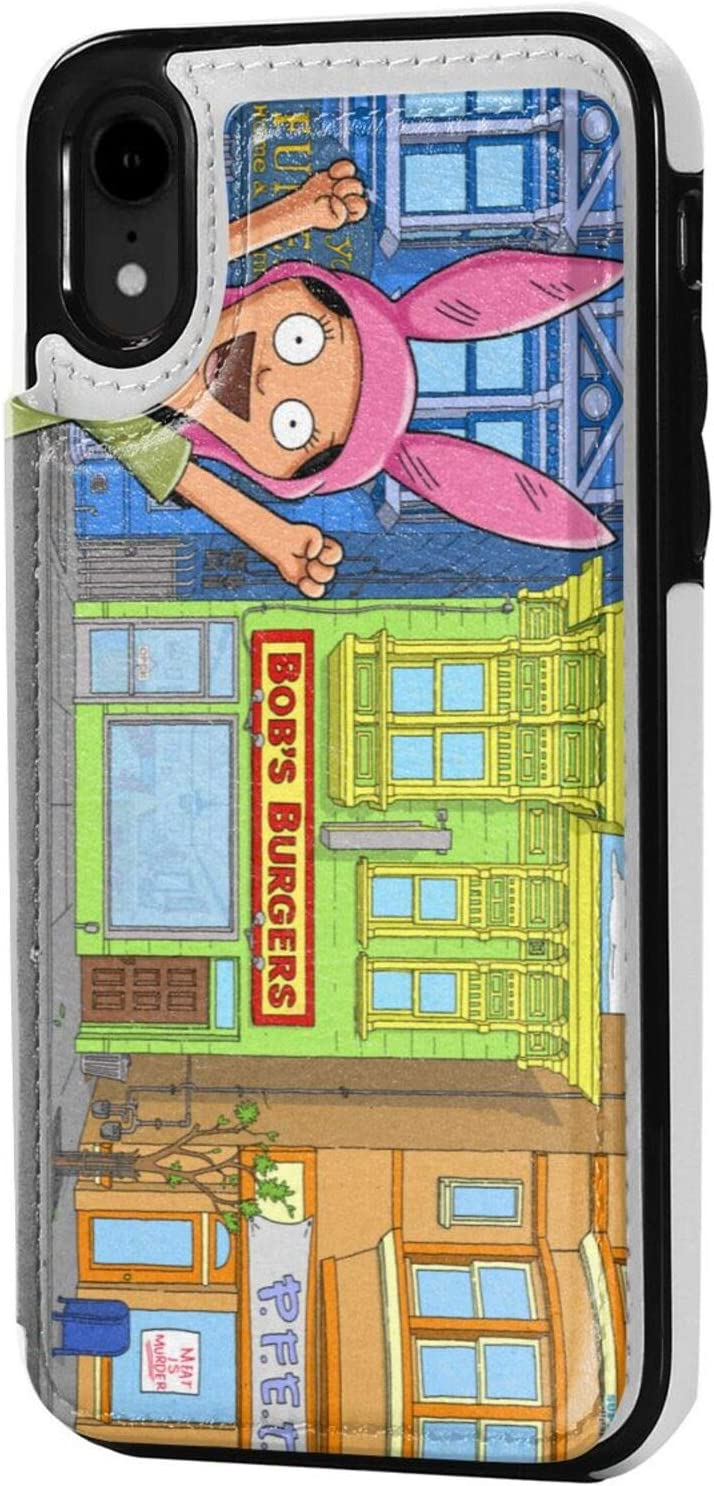 Joseph E Hinton Bob Burgers iPhone Xr Case Wallet Credit Card Premium Leather Case with Card Slot Supports Wireless Charging Anti Fall Protective Cover Fashion Black