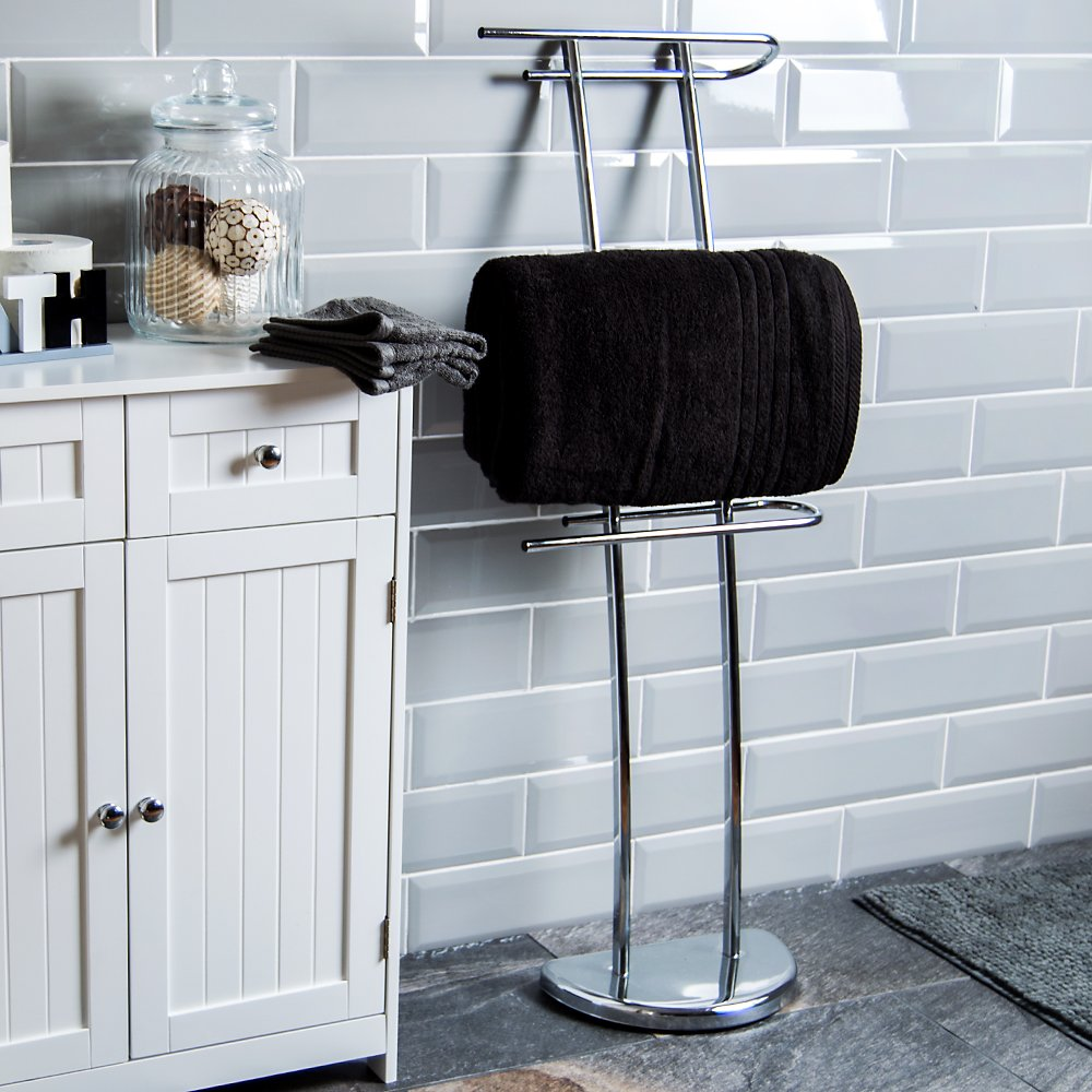 Home Discount® Three Bar Towel Holder Freestanding Bathroom Chrome Rail Rack