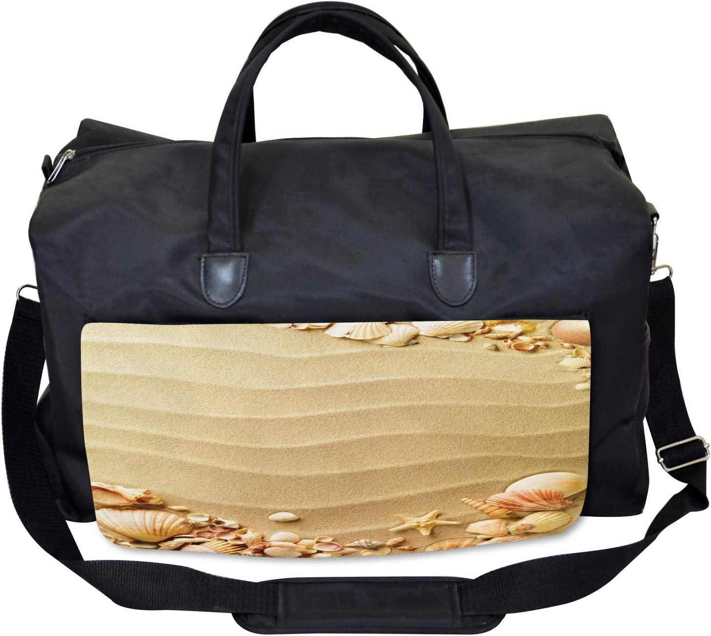 Large Weekender Carry-on Sand with Sea Shells Ambesonne Beach Gym Bag