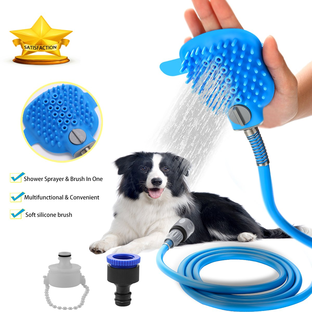Pet Shower Sprayer Dog Bathing Tool - Shower Head & Brush in One 8.2 Ft Hose 2 Adapters, Dog Cat Horse Grooming & Massage, Dog Wash Bathtub Outdoor Use
