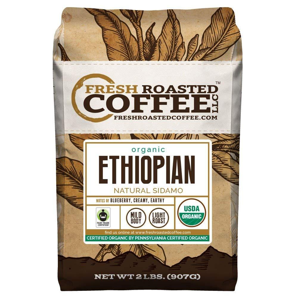 Organic Ethiopian Natural Sidamo Coffee, Fair Trade, Whole Bean Bag, Fresh Roasted Coffee LLC. (2 LB.) by FRESH ROASTED COFFEE LLC FRESHROASTEDCOFFEE.COM