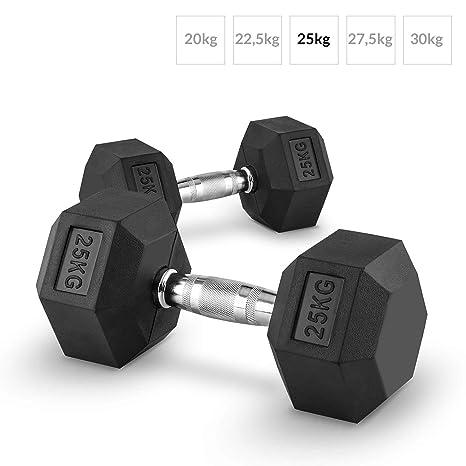 Capital Sports Hexbell Mancuernas gimnasio pesas de mano corta (peso 25 kg, cabezales hexagonales, revestimiento goma dura para proteccion golpes en el ...